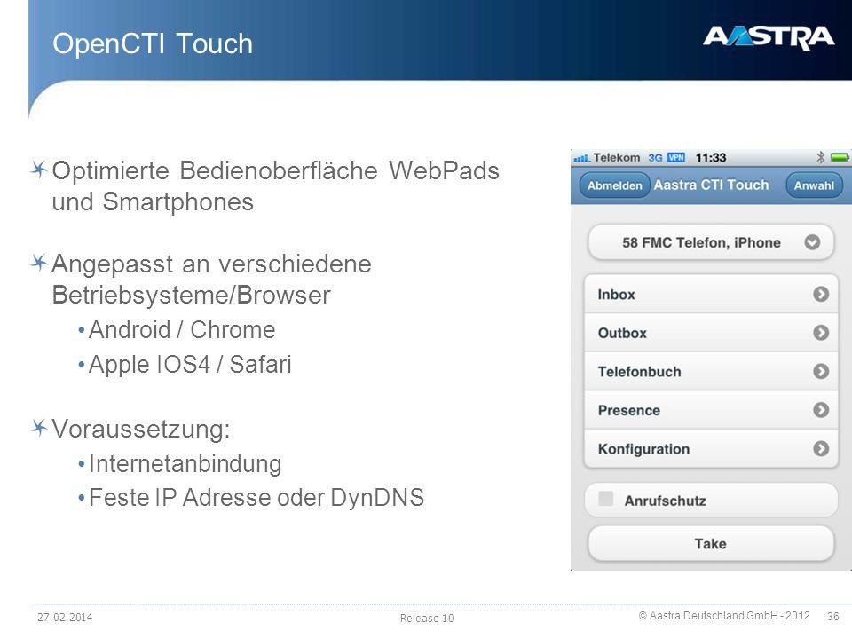 OpenCTI Touch Optimierte Bedienoberfläche WebPads und Smartphones