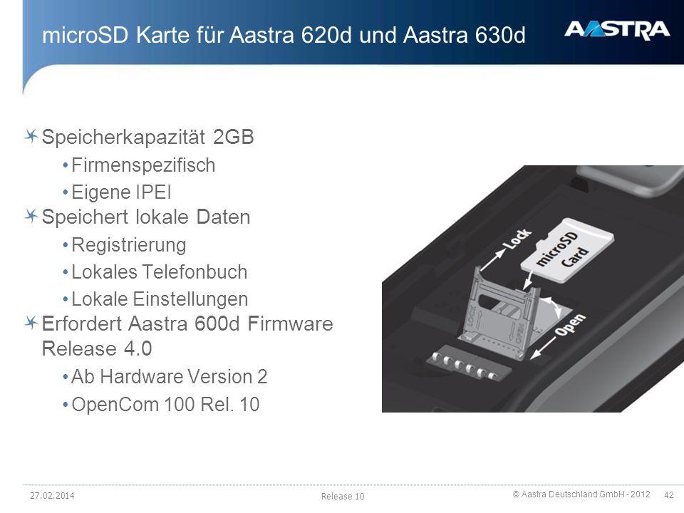 microSD Karte für Aastra 620d und Aastra 630d
