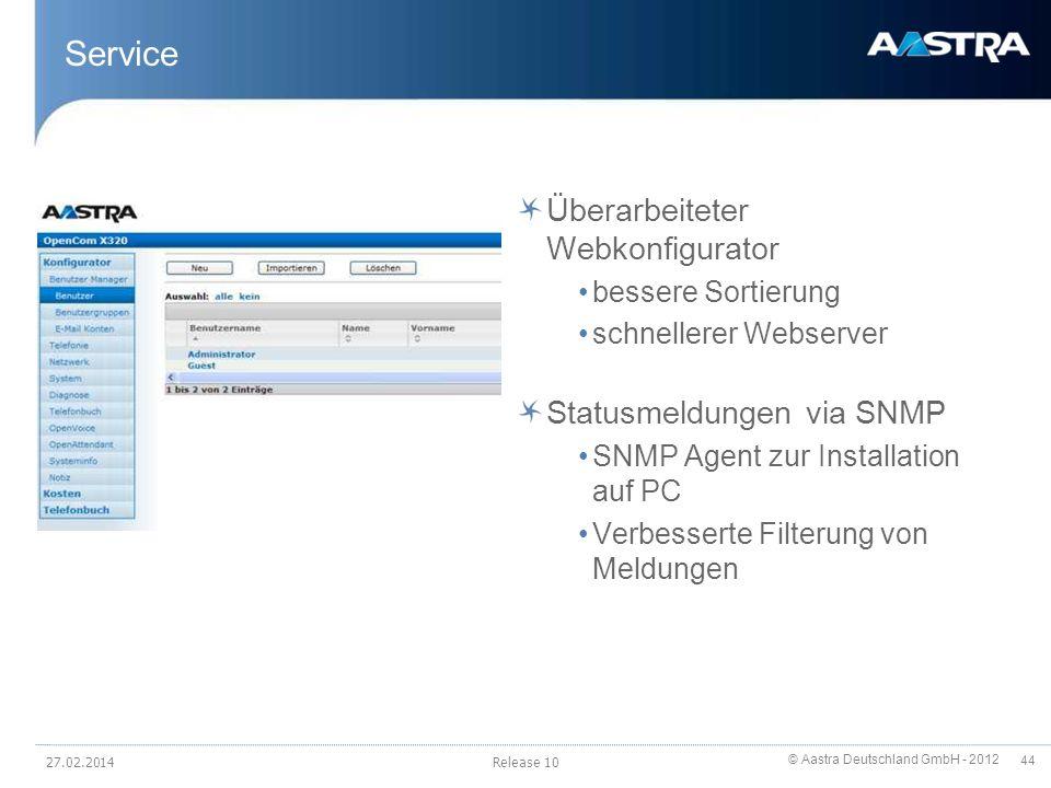 Service Überarbeiteter Webkonfigurator Statusmeldungen via SNMP