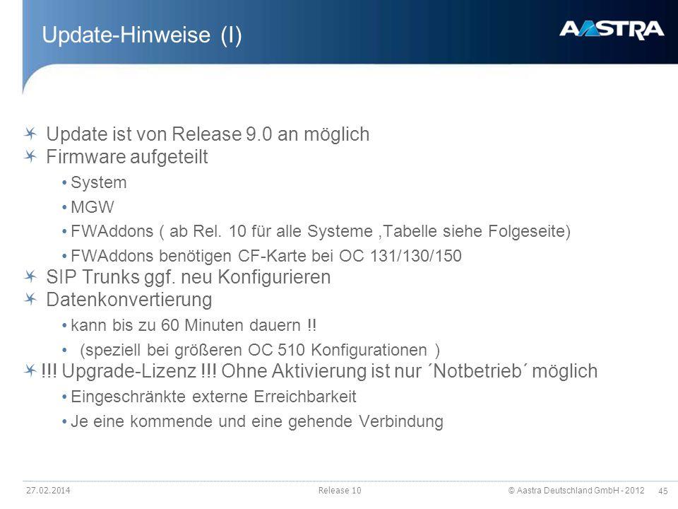 Update-Hinweise (I) Update ist von Release 9.0 an möglich