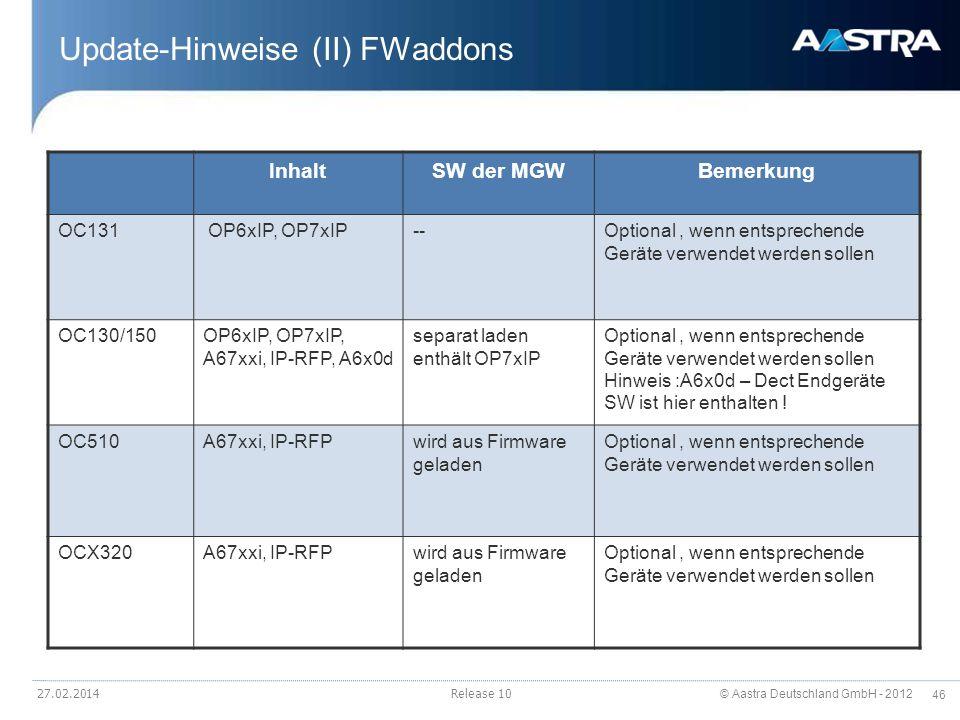 Update-Hinweise (II) FWaddons