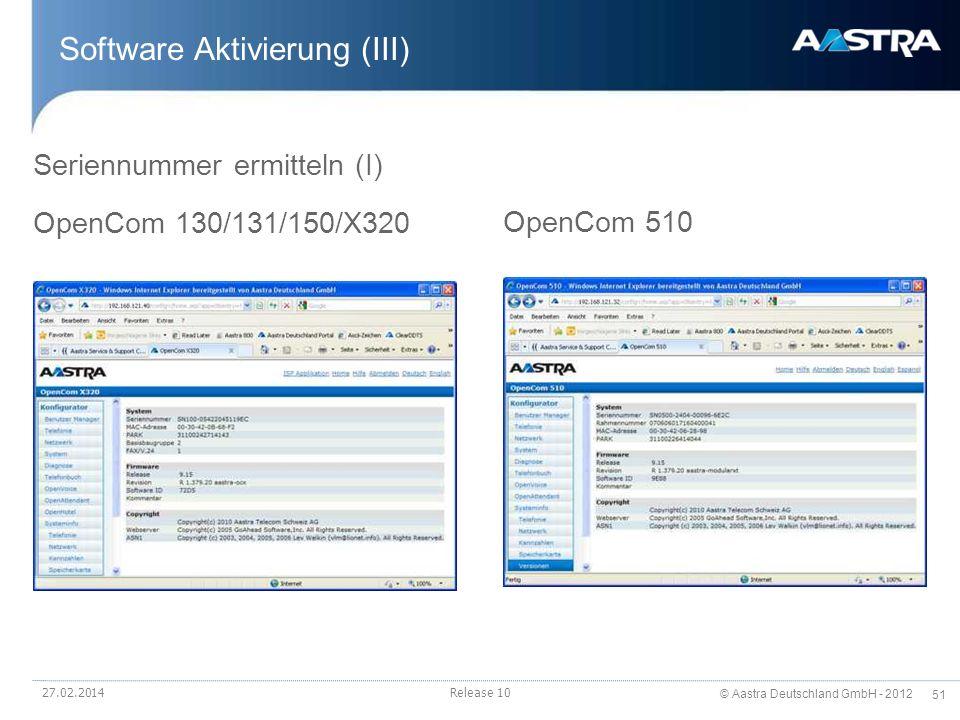 Software Aktivierung (III)