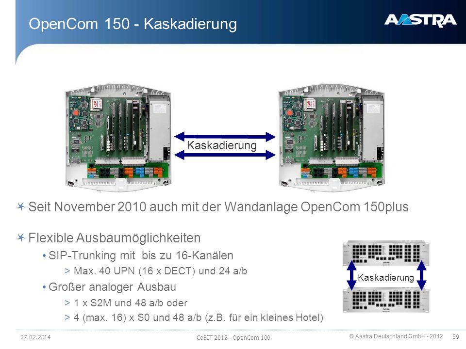 OpenCom 150 - Kaskadierung
