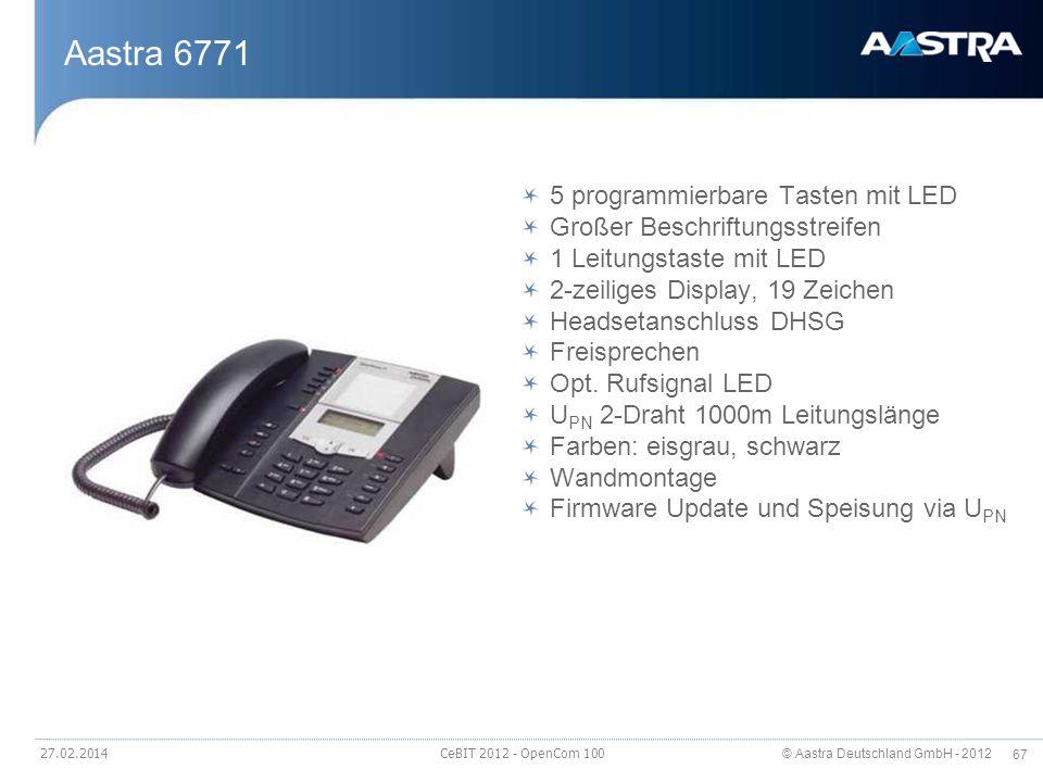 Aastra 6771 5 programmierbare Tasten mit LED