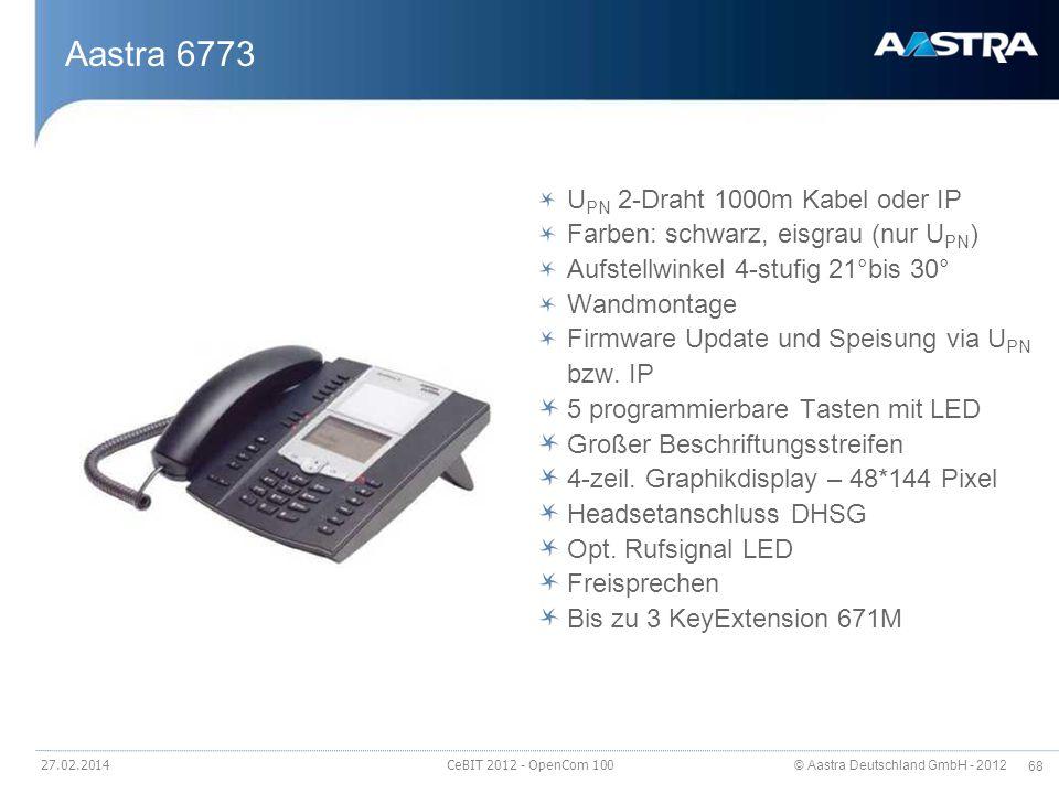 Aastra 6773 UPN 2-Draht 1000m Kabel oder IP