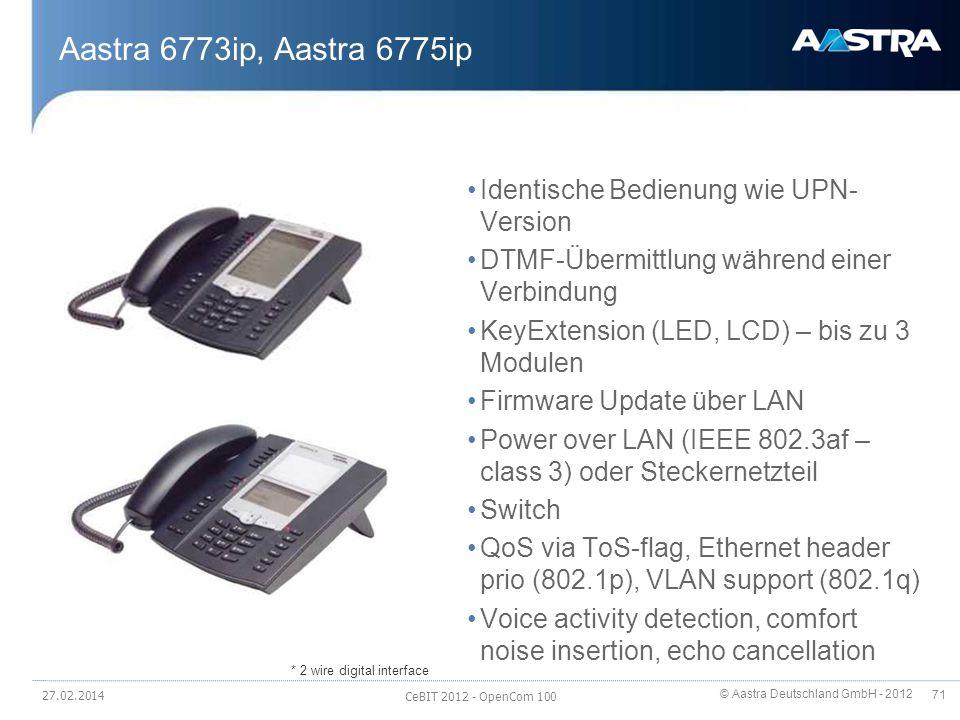 Aastra 6773ip, Aastra 6775ip Identische Bedienung wie UPN-Version