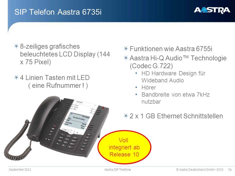 SIP Telefon Aastra 6735i 8-zeiliges grafisches beleuchtetes LCD Display (144 x 75 Pixel) 4 Linien Tasten mit LED.