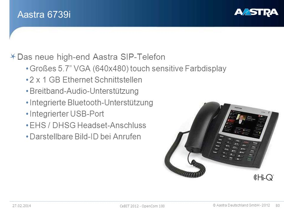 Aastra 6739i Das neue high-end Aastra SIP-Telefon