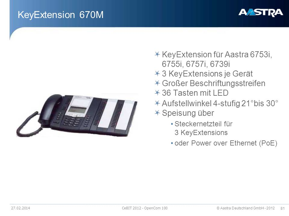 KeyExtension 670M KeyExtension für Aastra 6753i, 6755i, 6757i, 6739i