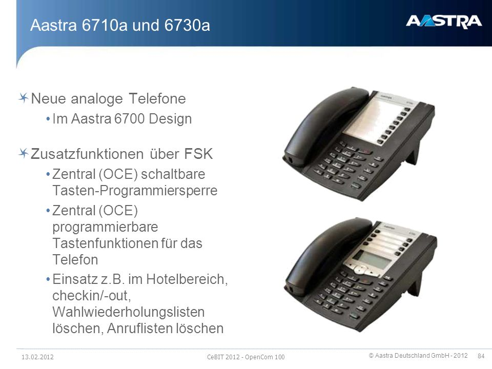 Aastra 6710a und 6730a Neue analoge Telefone Zusatzfunktionen über FSK