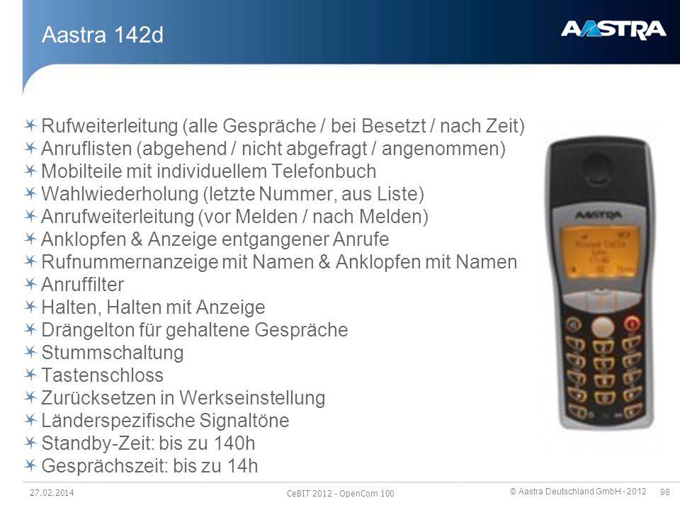 Aastra 142d Rufweiterleitung (alle Gespräche / bei Besetzt / nach Zeit) Anruflisten (abgehend / nicht abgefragt / angenommen)