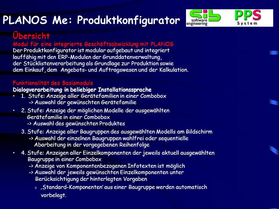 Übersicht Modul für eine integrierte Geschäftsabwicklung mit PLANOS