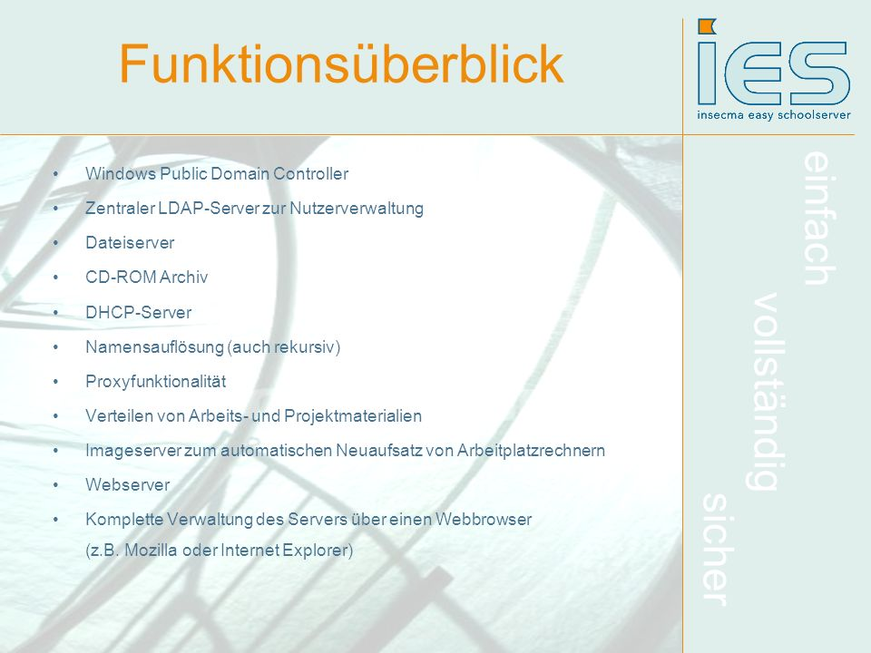 Funktionsüberblick Windows Public Domain Controller