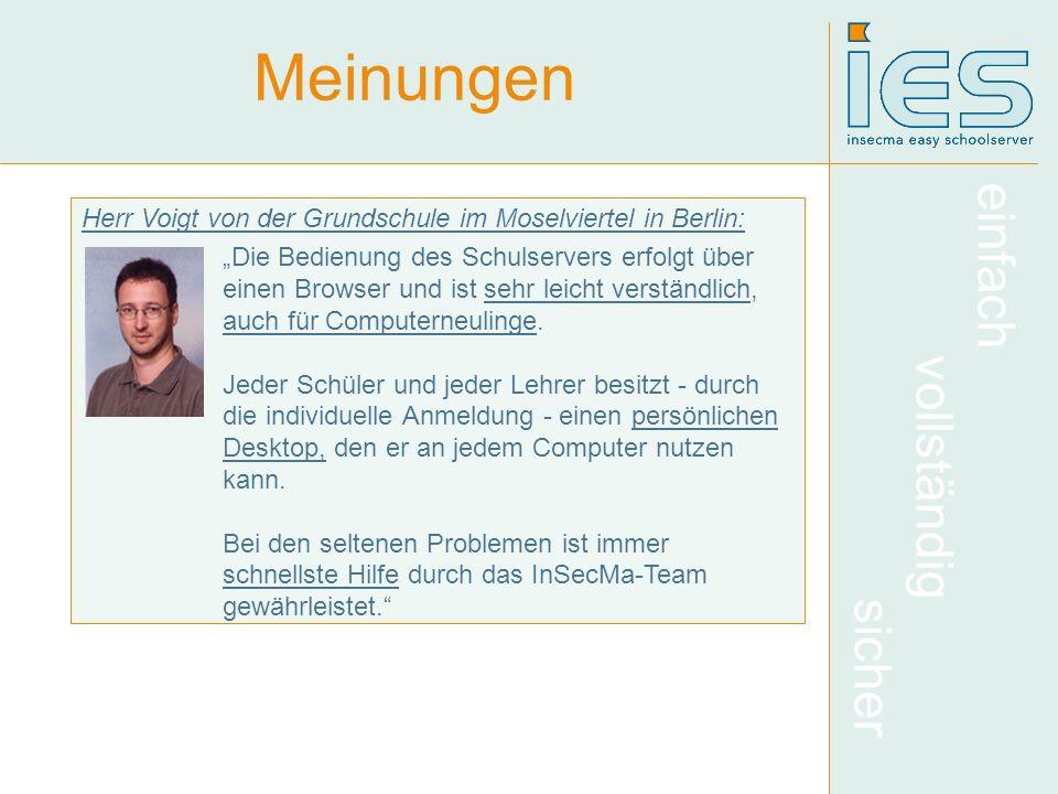 Meinungen Herr Voigt von der Grundschule im Moselviertel in Berlin: