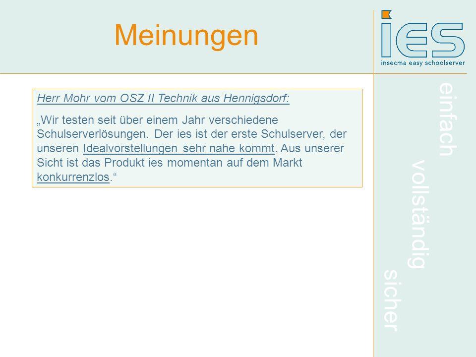 Meinungen Herr Mohr vom OSZ II Technik aus Hennigsdorf:
