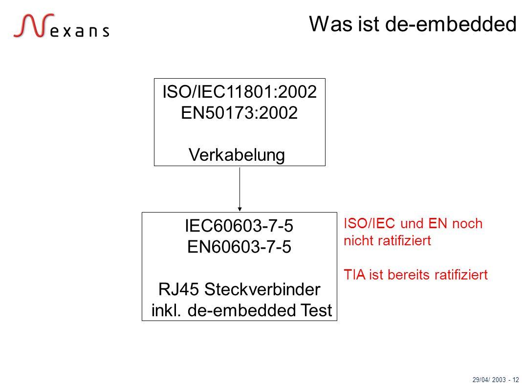 Was ist de-embedded ISO/IEC11801:2002 EN50173:2002 Verkabelung