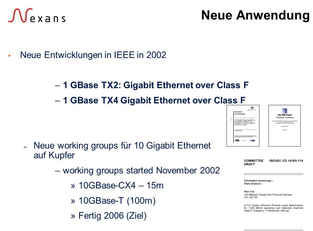 Neue Anwendung Neue Entwicklungen in IEEE in 2002