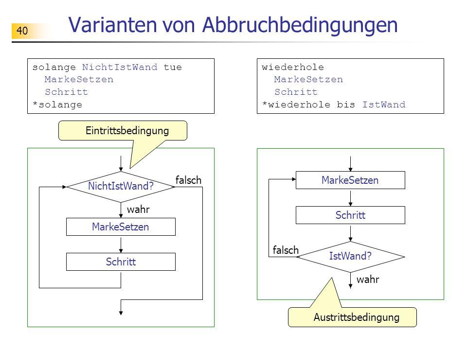 Varianten von Abbruchbedingungen