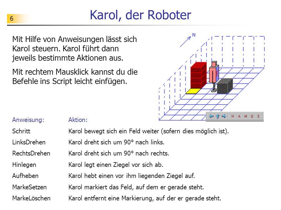 Karol, der Roboter Mit Hilfe von Anweisungen lässt sich Karol steuern. Karol führt dann jeweils bestimmte Aktionen aus.