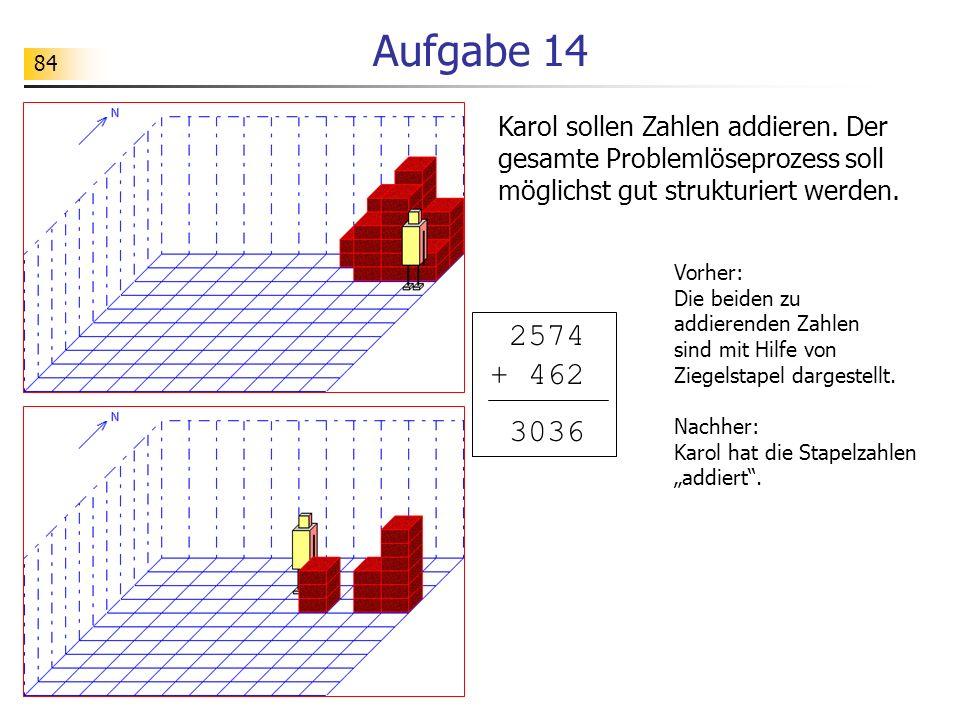 Aufgabe 14 Karol sollen Zahlen addieren. Der gesamte Problemlöseprozess soll möglichst gut strukturiert werden.