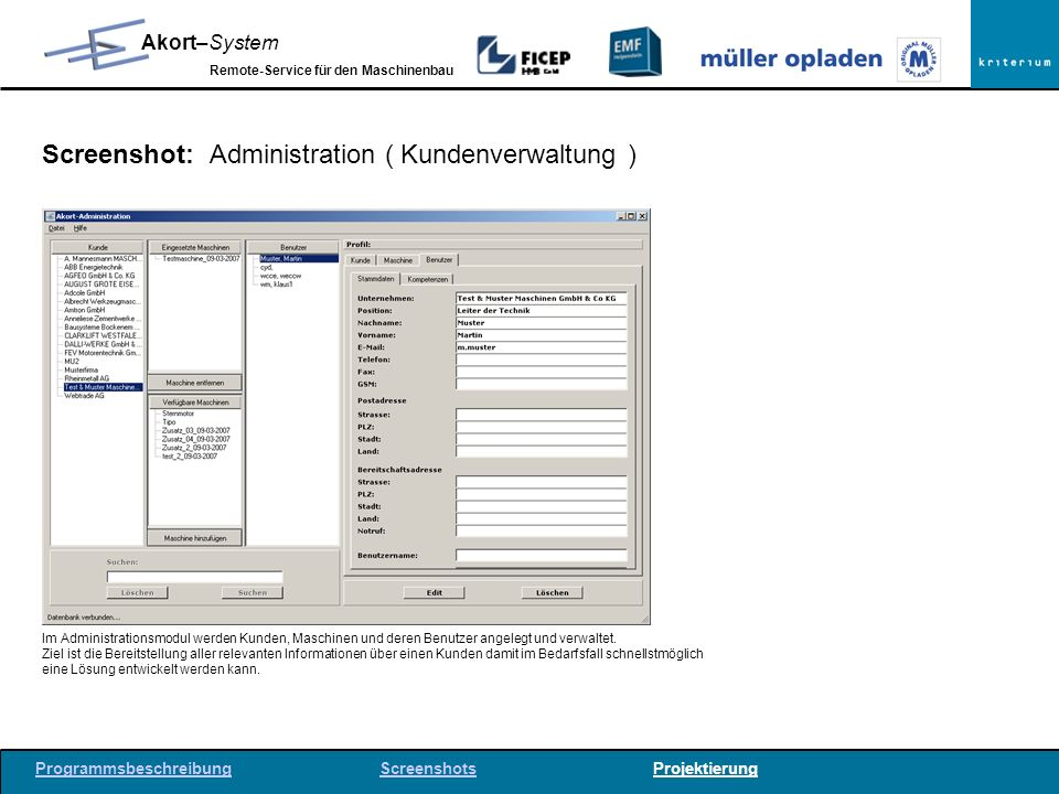 Screenshot: Administration ( Kundenverwaltung )