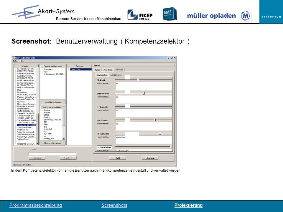 Screenshot: Benutzerverwaltung ( Kompetenzselektor )