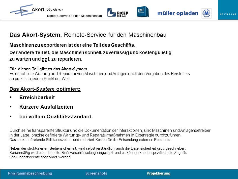 Das Akort-System, Remote-Service für den Maschinenbau
