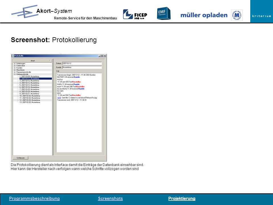 Screenshot: Protokollierung