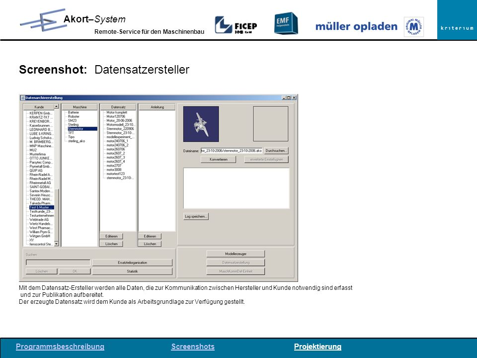 Screenshot: Datensatzersteller
