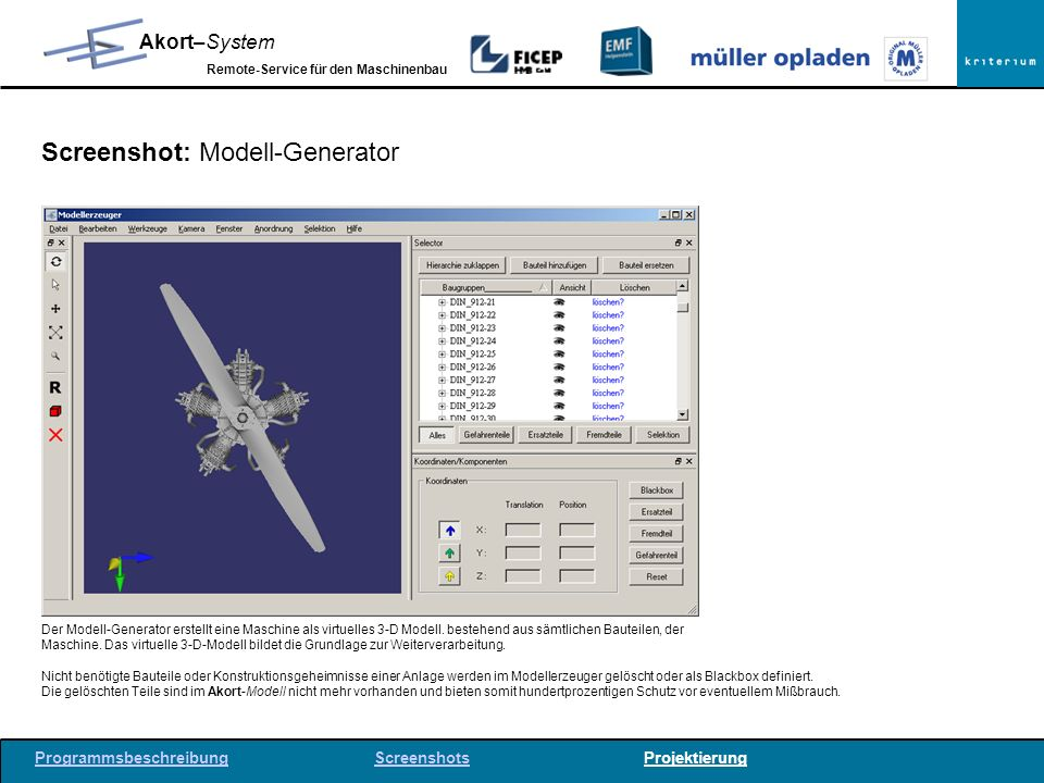 Screenshot: Modell-Generator