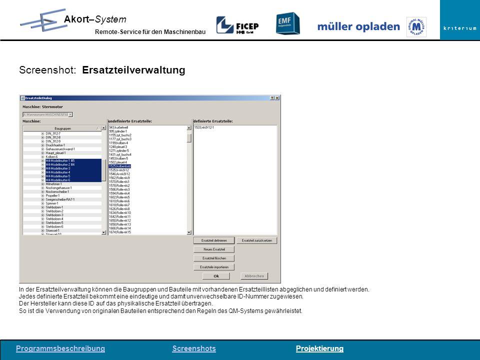 Screenshot: Ersatzteilverwaltung