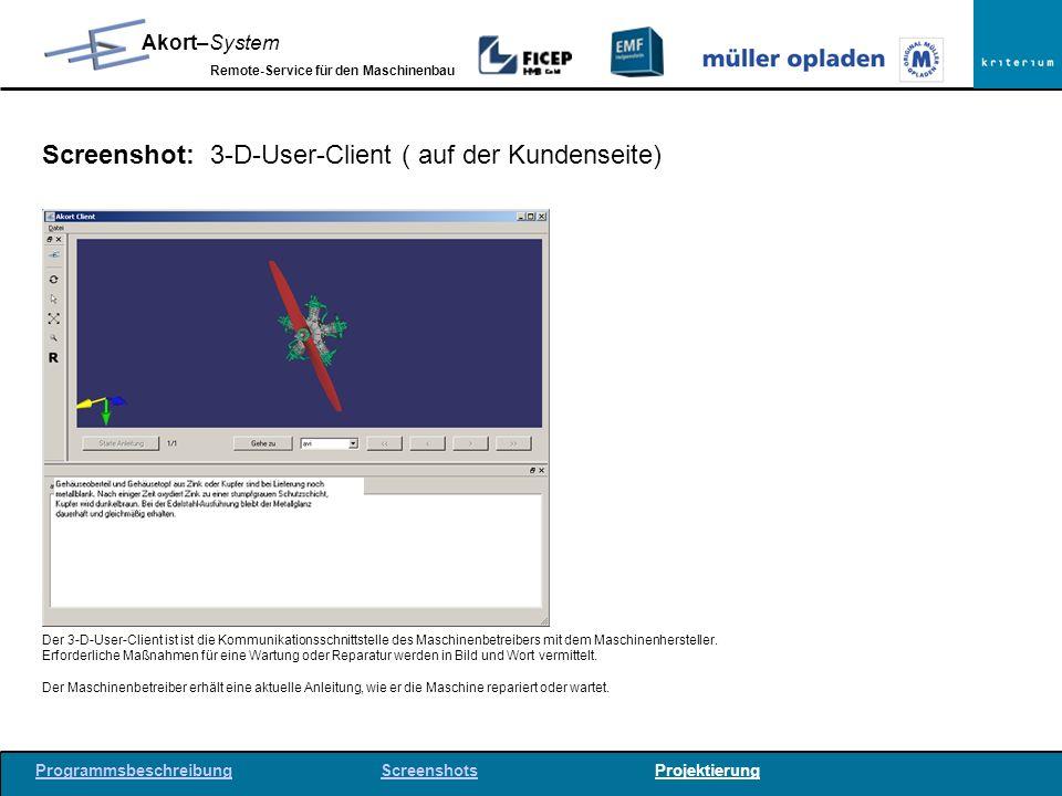 Screenshot: 3-D-User-Client ( auf der Kundenseite)
