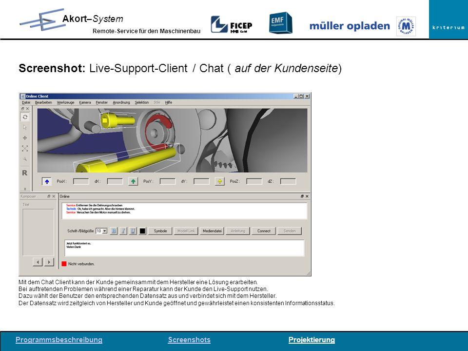 Screenshot: Live-Support-Client / Chat ( auf der Kundenseite)