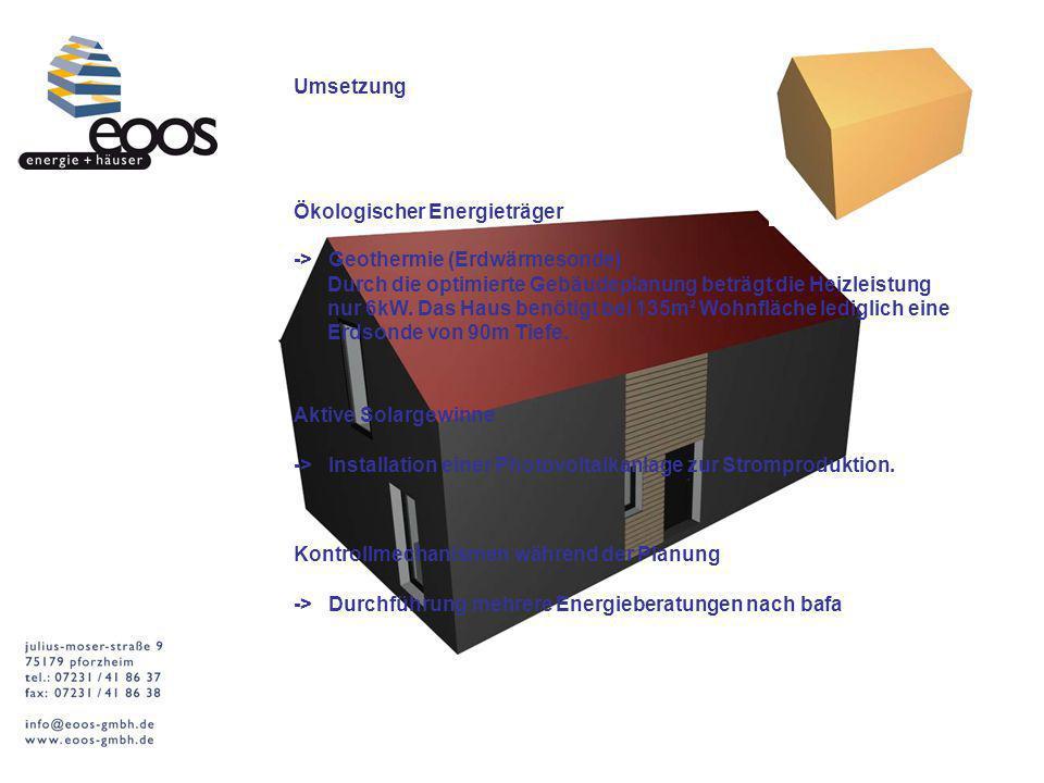 Umsetzung Ökologischer Energieträger. -> Geothermie (Erdwärmesonde) Durch die optimierte Gebäudeplanung beträgt die Heizleistung.