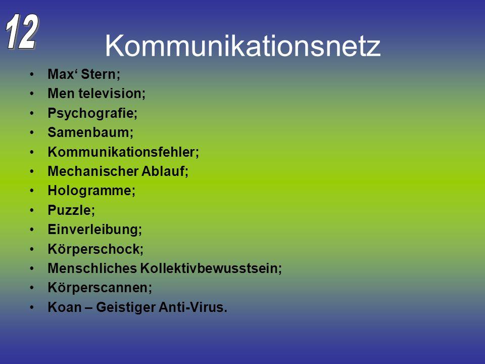 Kommunikationsnetz 12 Max' Stern; Men television; Psychografie;