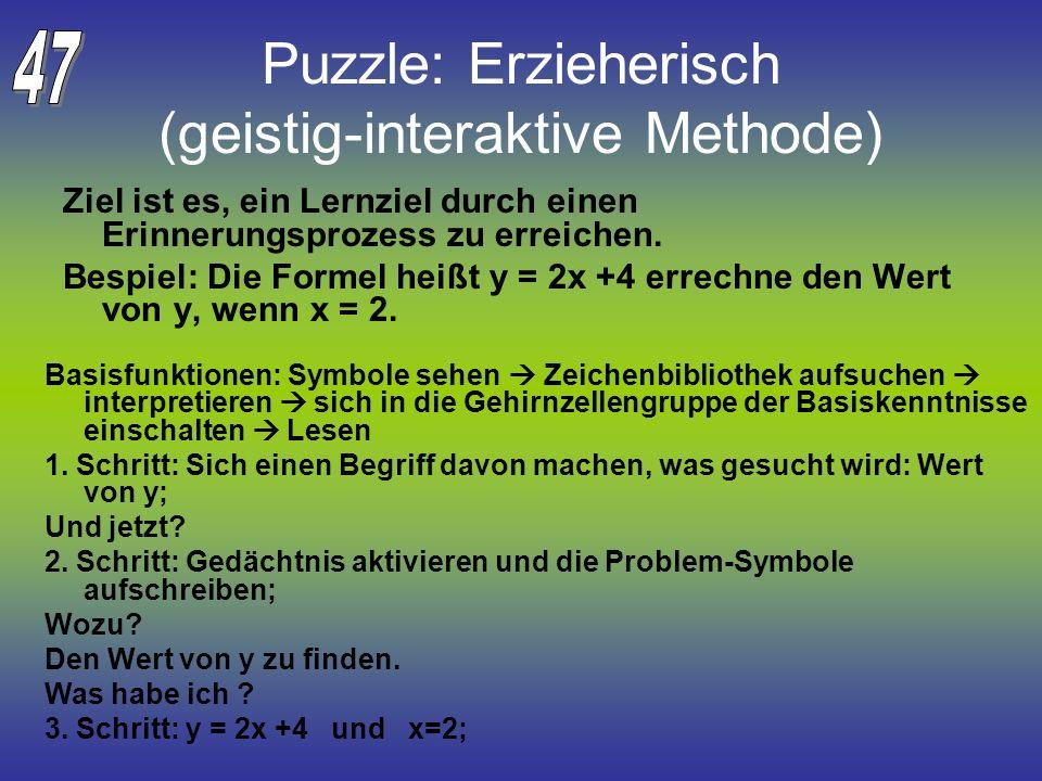 Puzzle: Erzieherisch (geistig-interaktive Methode)