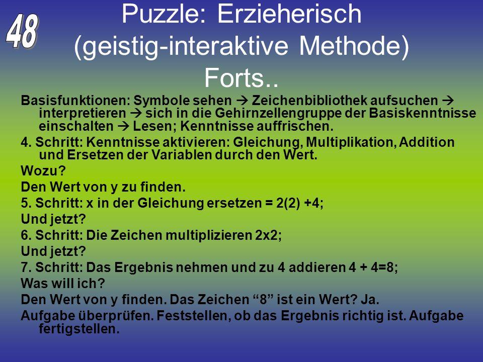 Puzzle: Erzieherisch (geistig-interaktive Methode) Forts..