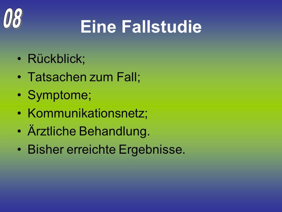 Eine Fallstudie 08 Rückblick; Tatsachen zum Fall; Symptome;
