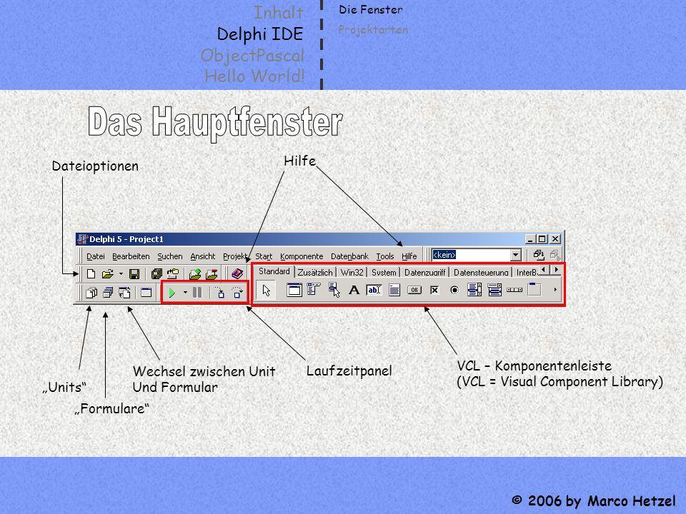 Das Hauptfenster Inhalt Delphi IDE ObjectPascal Hello World! Hilfe