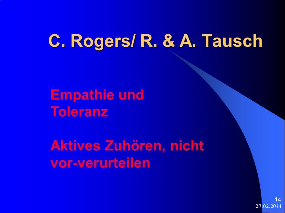 C. Rogers/ R. & A. Tausch Empathie und Toleranz Aktives Zuhören, nicht