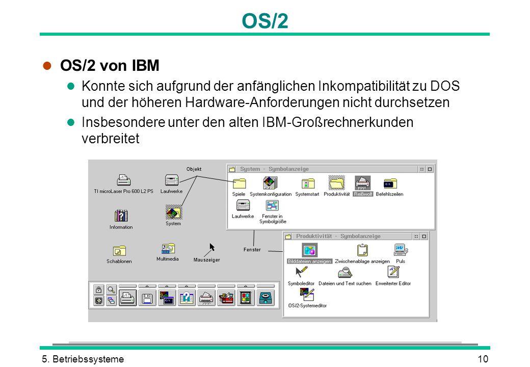 OS/2 OS/2 von IBM. Konnte sich aufgrund der anfänglichen Inkompatibilität zu DOS und der höheren Hardware-Anforderungen nicht durchsetzen.