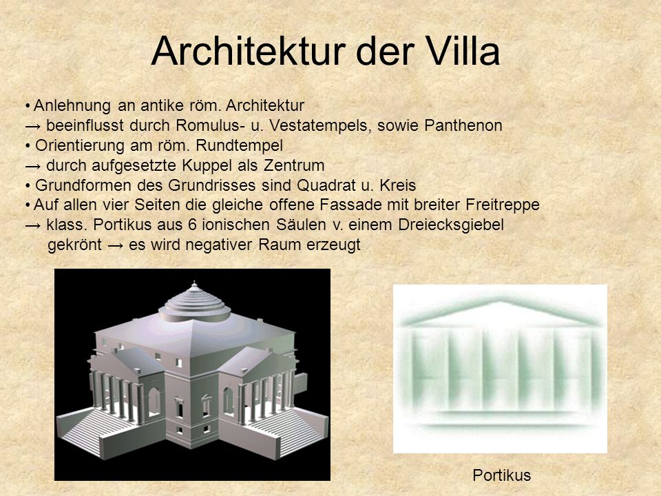 Architektur der Villa Anlehnung an antike röm. Architektur