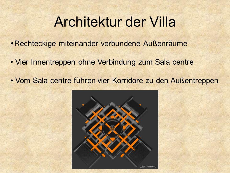Architektur der Villa Rechteckige miteinander verbundene Außenräume