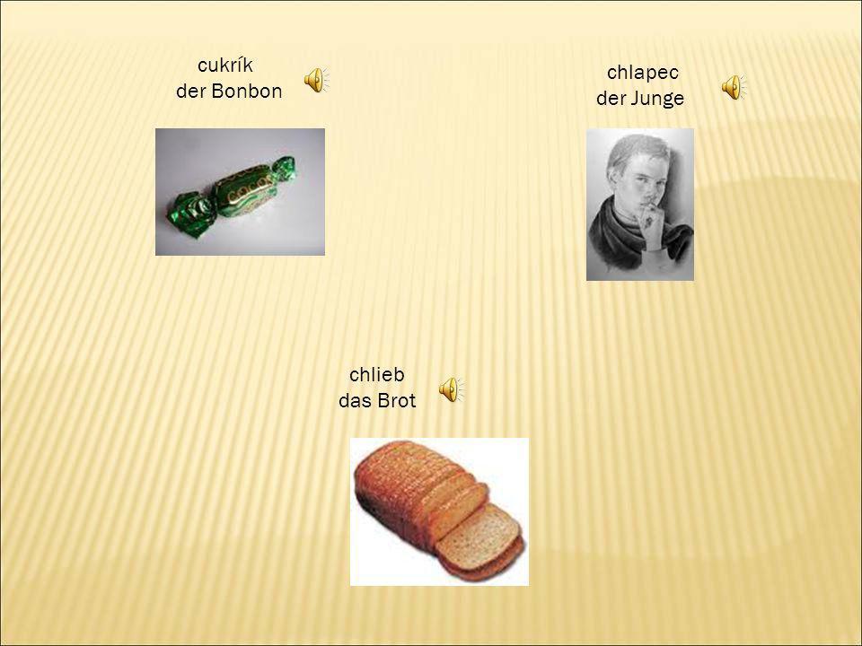 cukrík der Bonbon chlapec der Junge chlieb das Brot