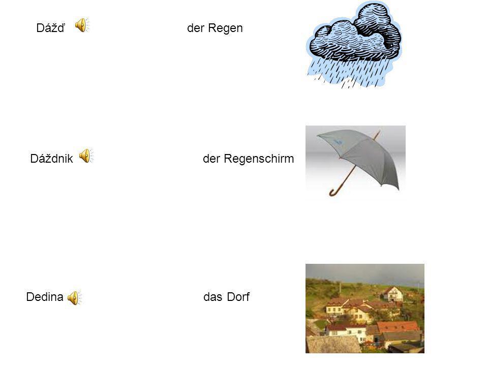 Dážď der Regen Dáždnik der Regenschirm.