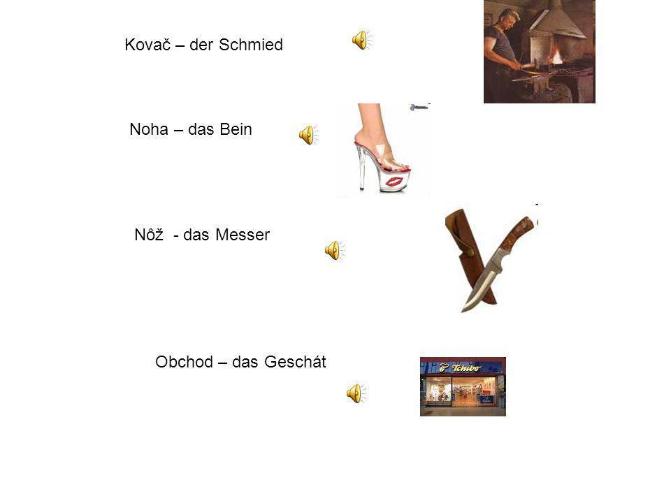 Kovač – der Schmied Noha – das Bein Nôž - das Messer Obchod – das Geschát
