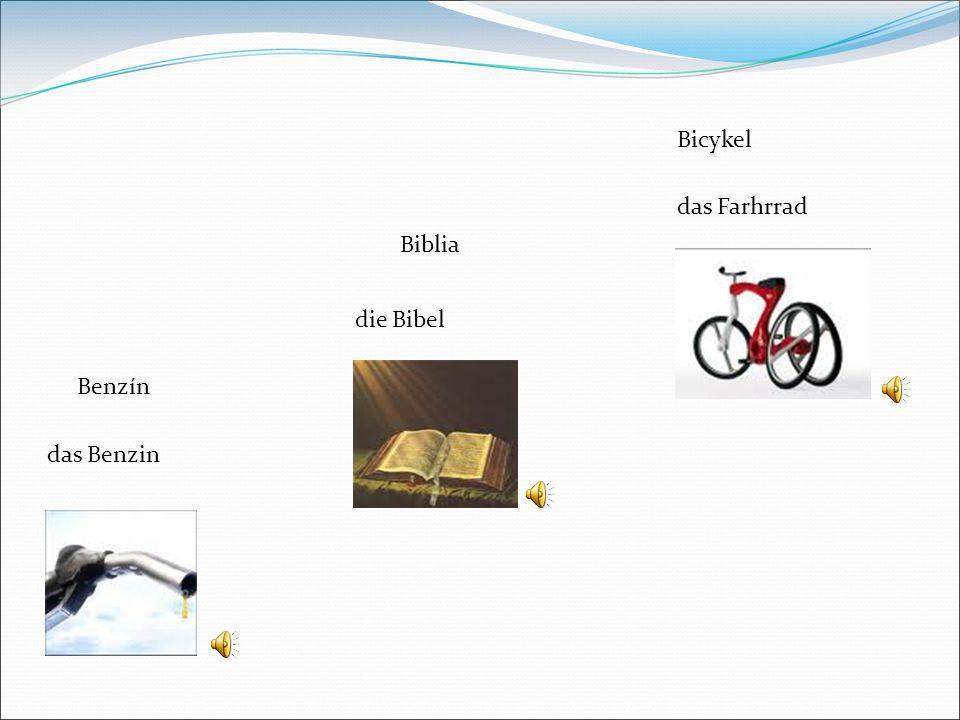 Bicykel das Farhrrad Biblia die Bibel Benzín das Benzin 7