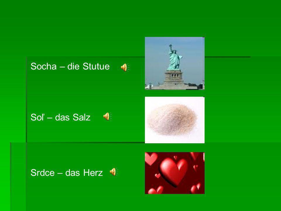 Socha – die Stutue Soľ – das Salz Srdce – das Herz