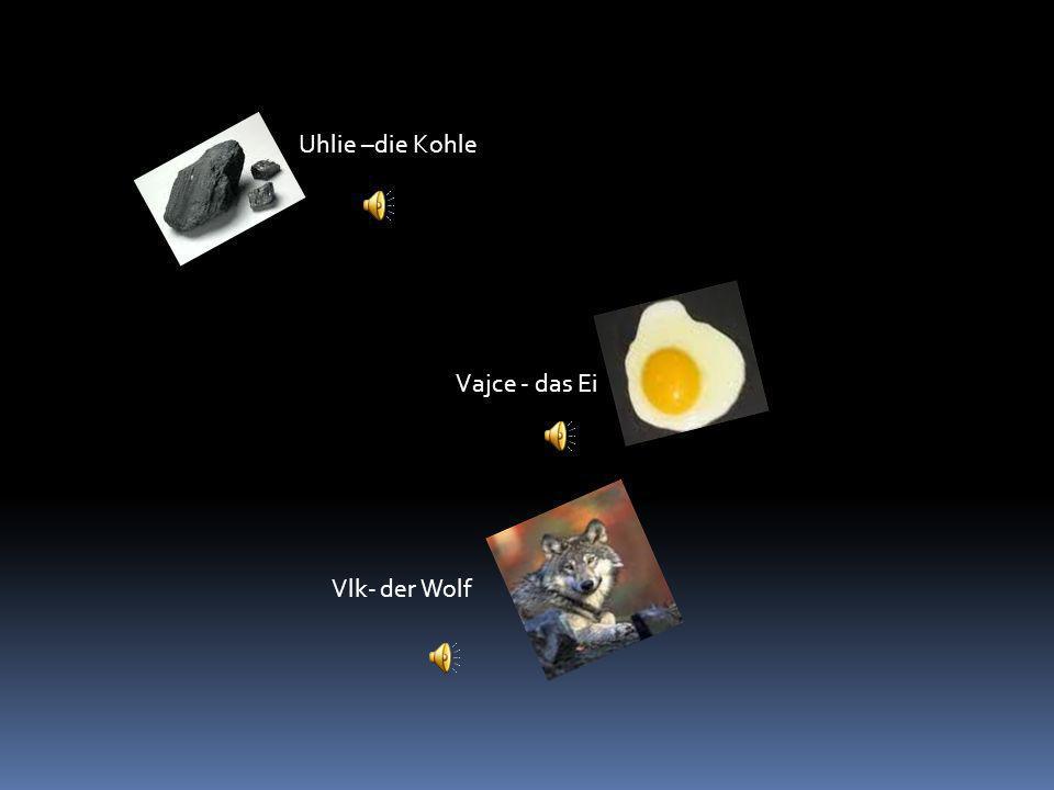Uhlie –die Kohle Vajce - das Ei Vlk- der Wolf