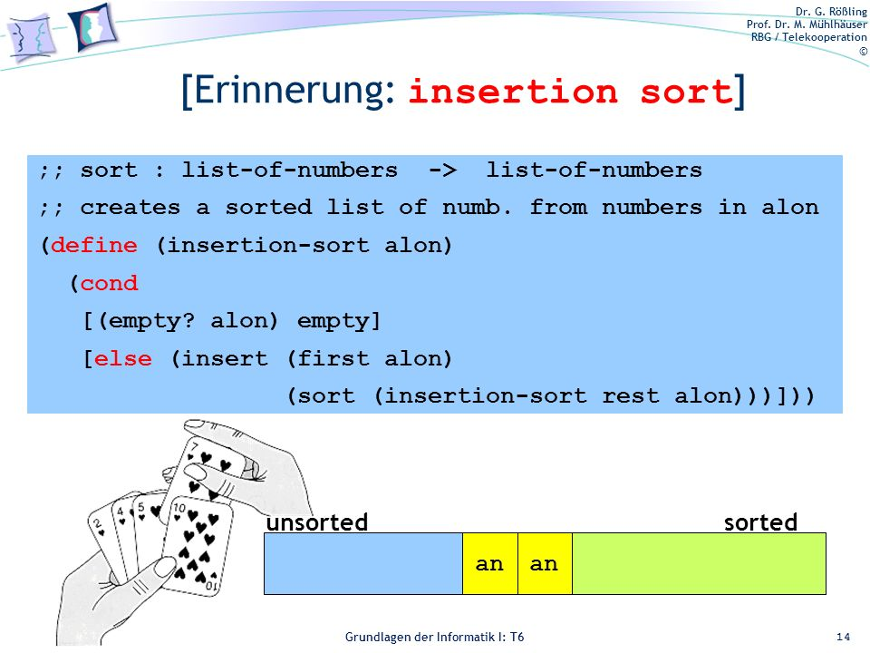 [Erinnerung: insertion sort]